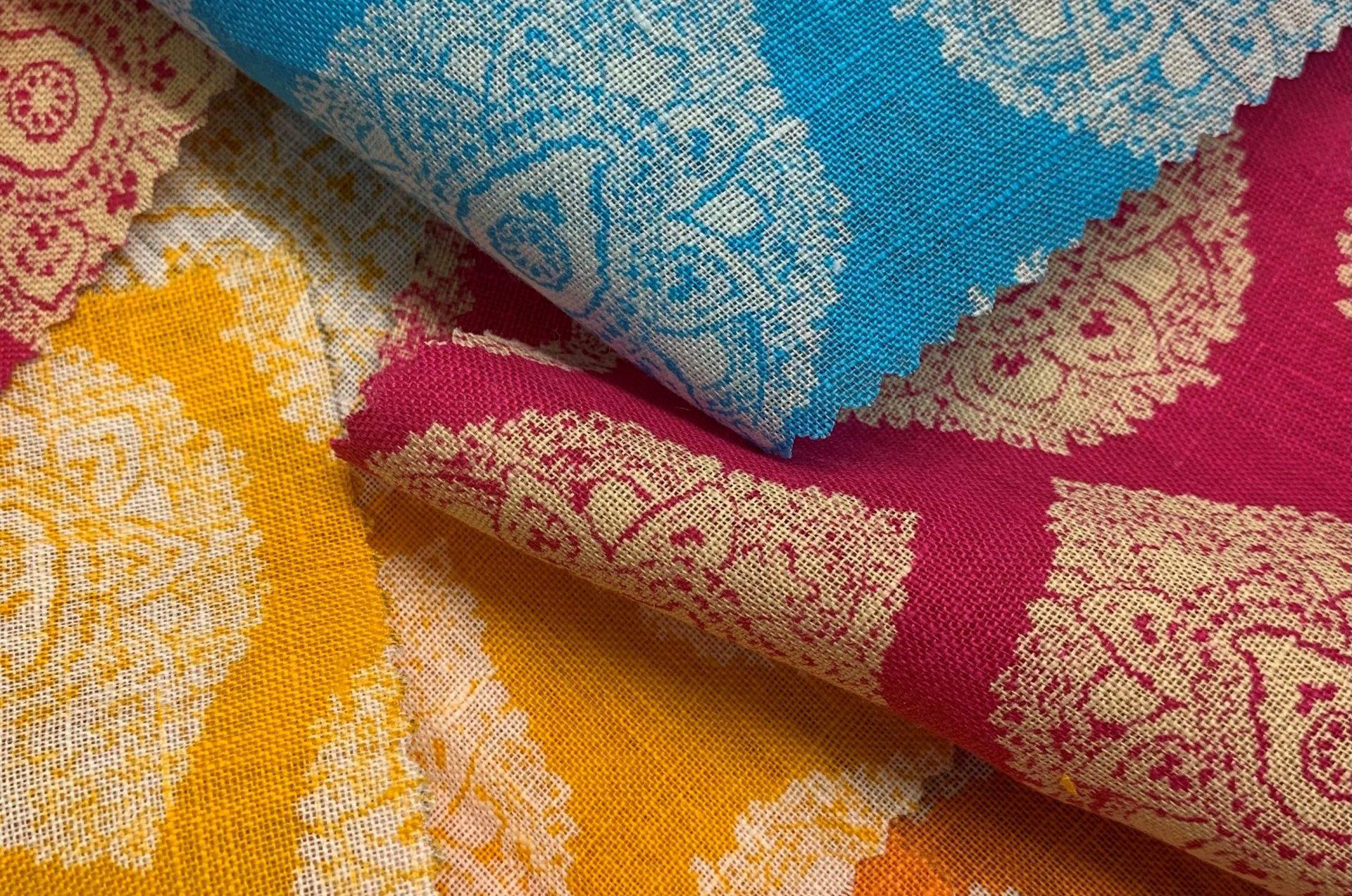 Irish linen, printed by hand in Macclesfield