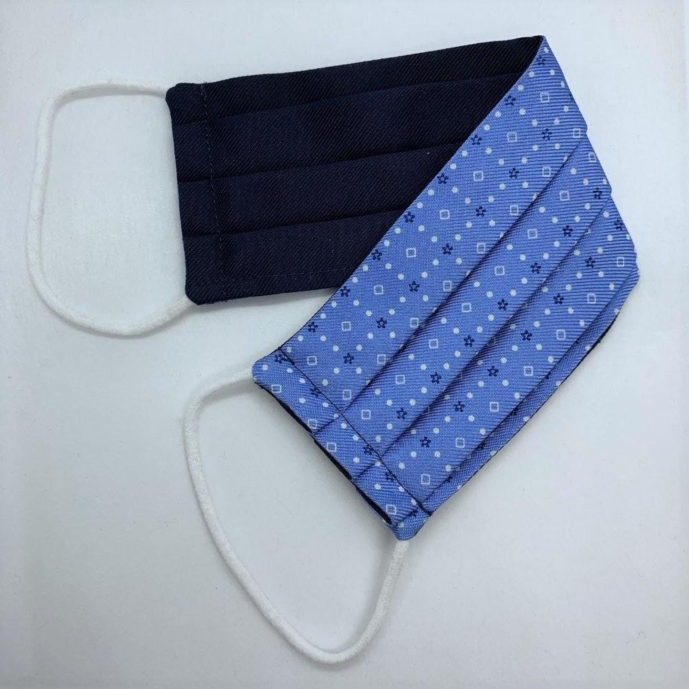 Light Blue/White Neat Silk Face Mask