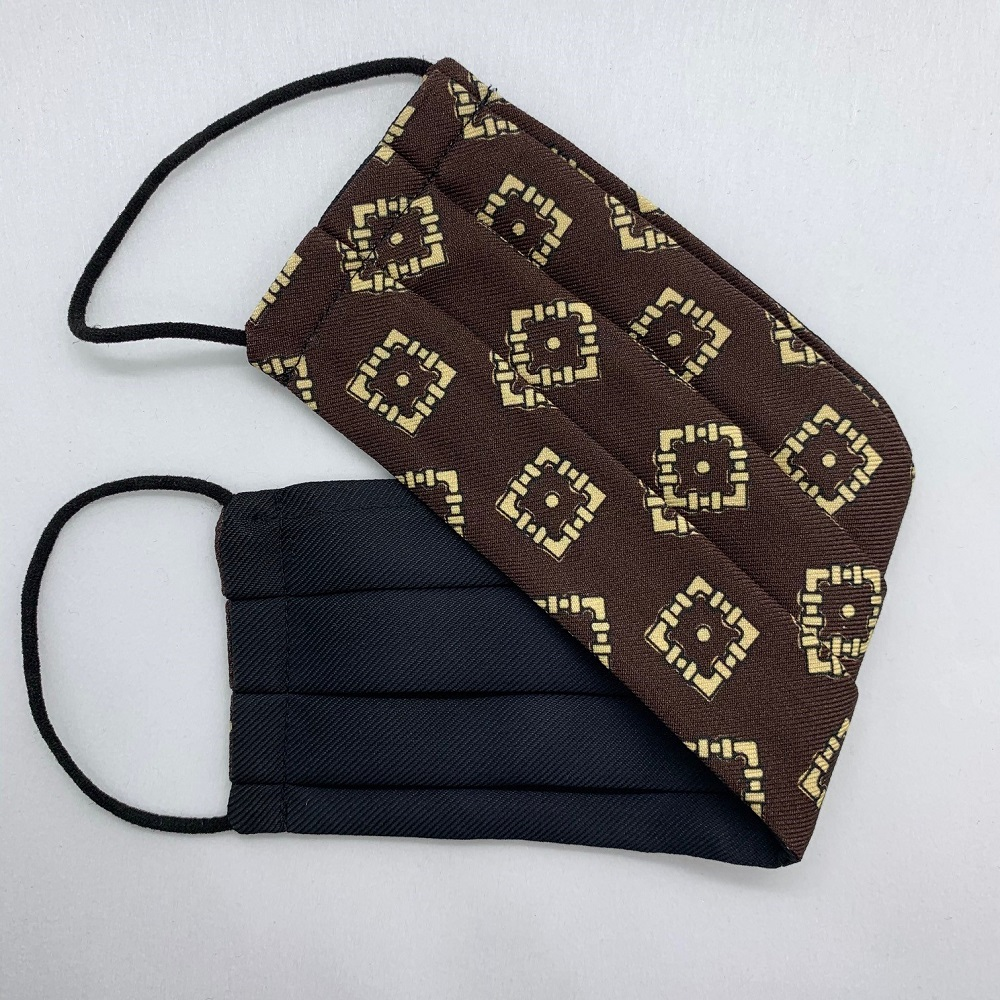 Brown/Cream Medallion Silk Face Mask