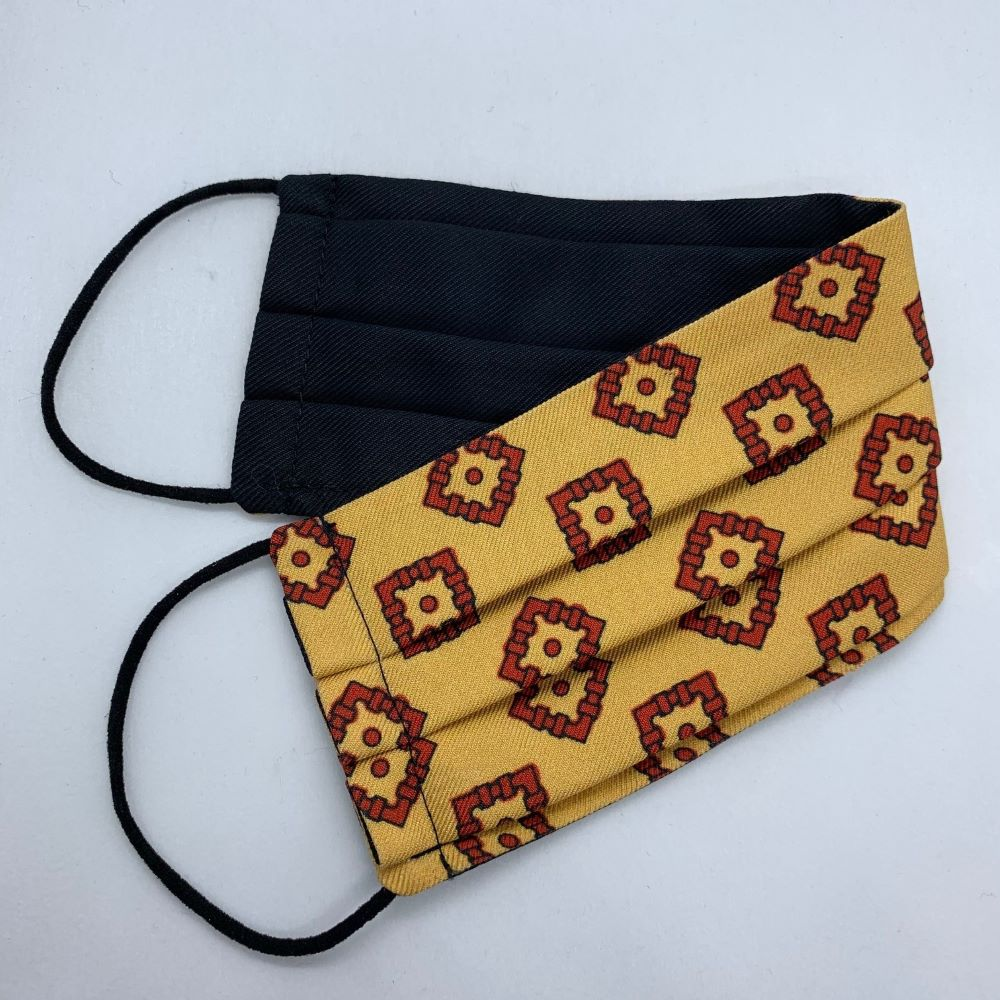 Yellow/Red Medallion Silk Face Mask