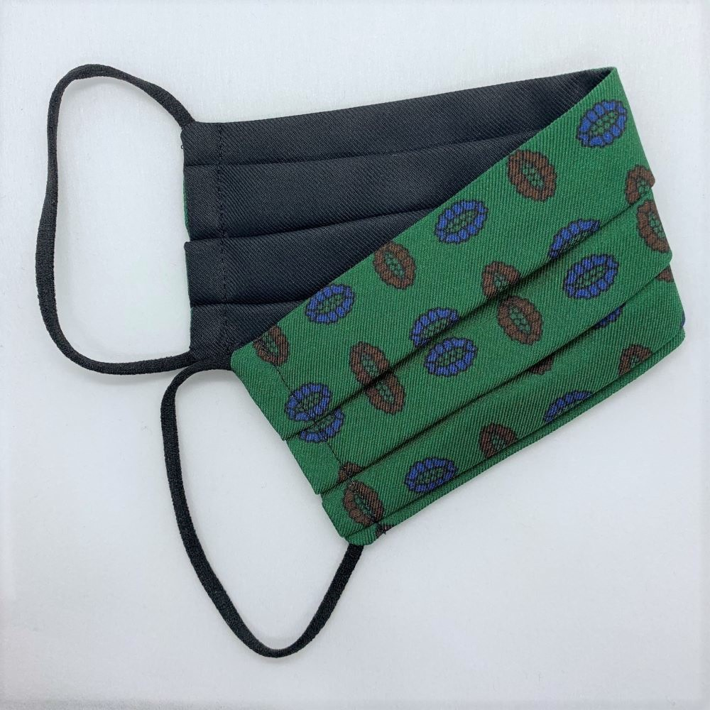 Green/Brown Medallion Silk Face Mask