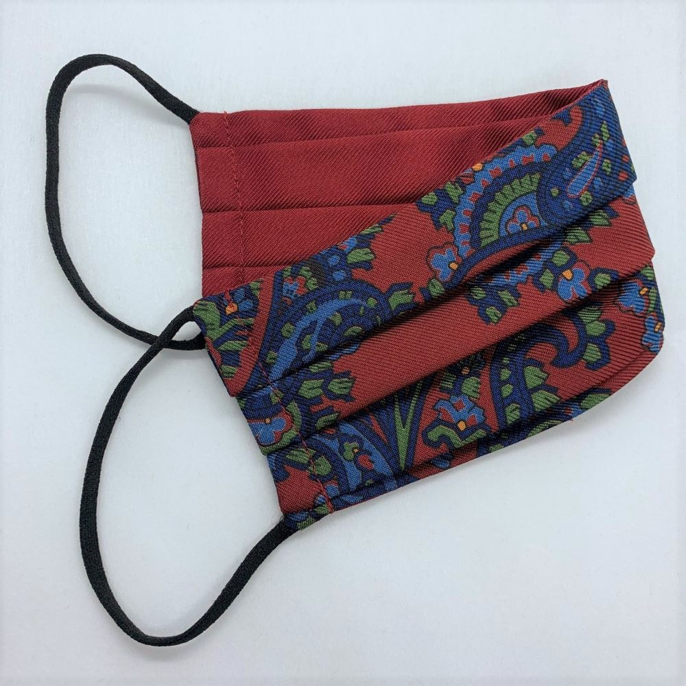 Red/Navy Paisley Silk Face Mask