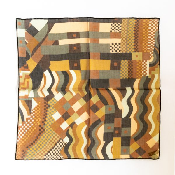 Abstract Silk Pocket Square - BrownGold
