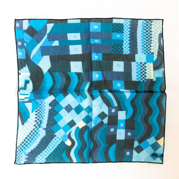 Abstract Silk Pocket Square - NavyBlue