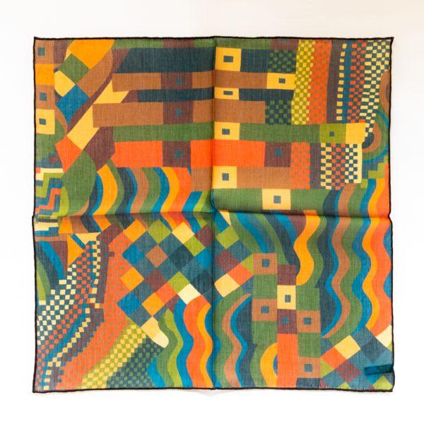 Abstract Silk Pocket Square - OrangeGreen