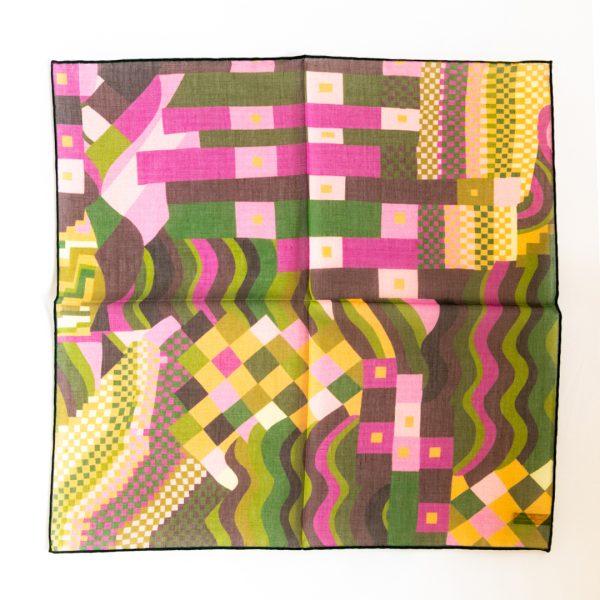 Abstract Silk Pocket Square - PinkGreen