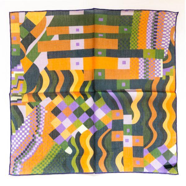 Abstract Silk Pocket Square - PurpleGreen