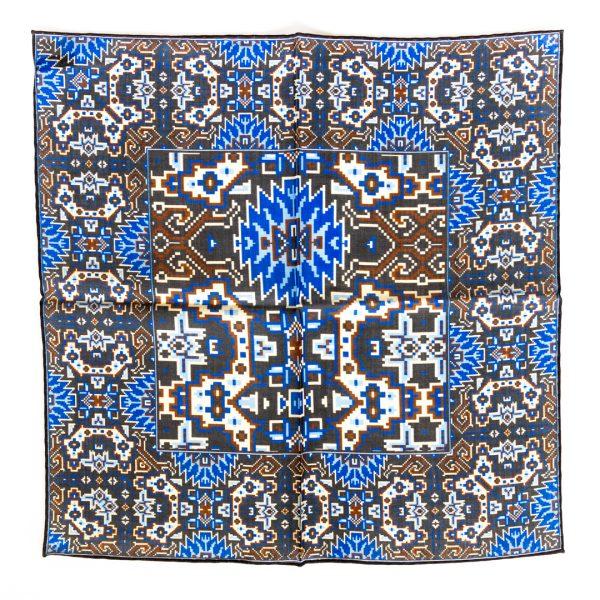 Aztec Silk Pocket Square - GreyBlue