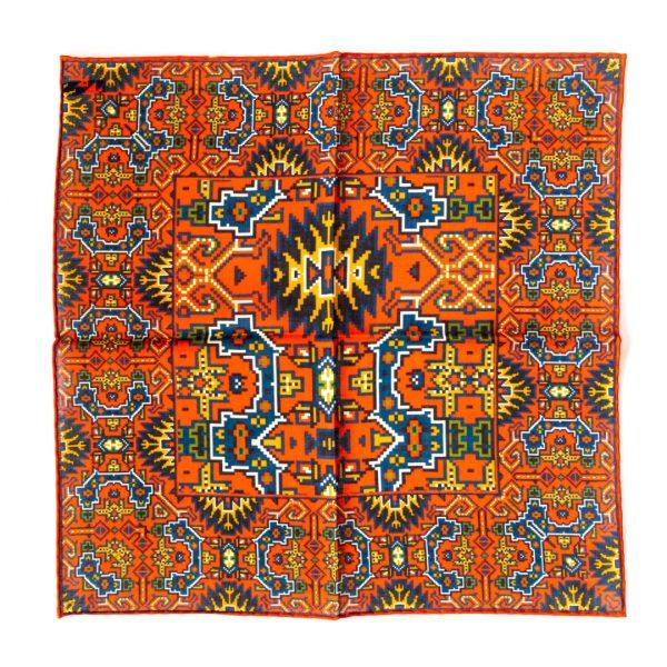 Aztec Silk Pocket Square - OrangeBlue