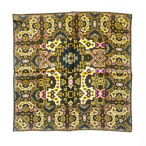 Aztec Silk Pocket Square - PurpleGreen