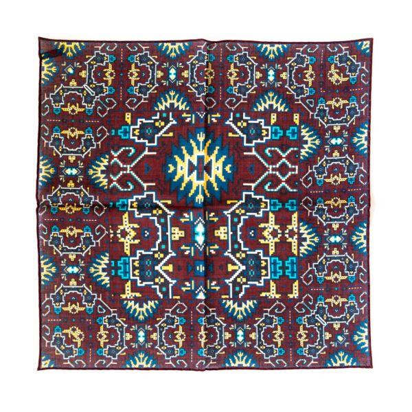 Aztec Silk Pocket Square - TealWine