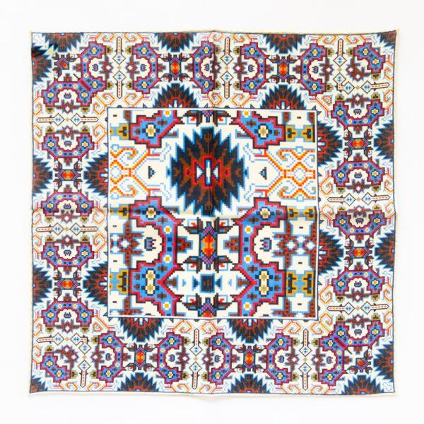 Aztec Silk Pocket Square - WhiteBlue