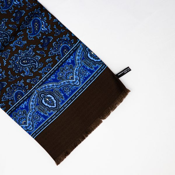 Classic Paisley Silk Scarf - Brown