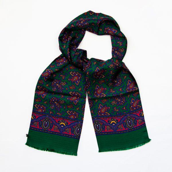 Classic Paisley Silk Scarf - Green