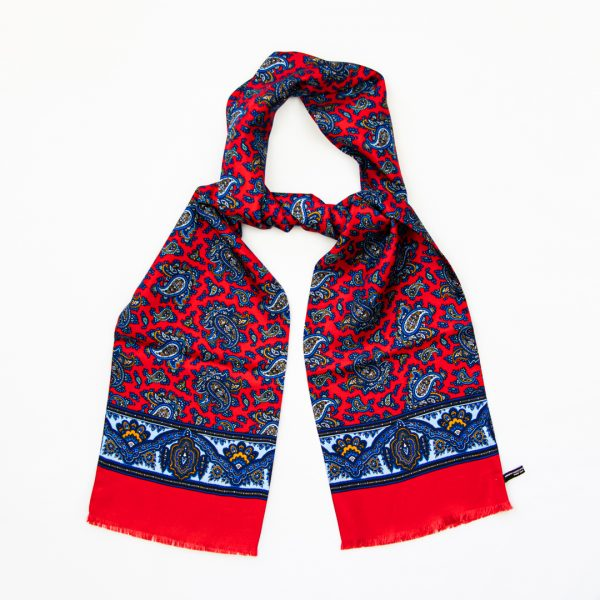 Classic Paisley Silk Scarf - Red