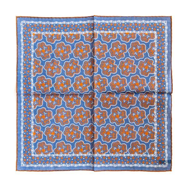 Cross Silk Pocket Square - BlueOrange