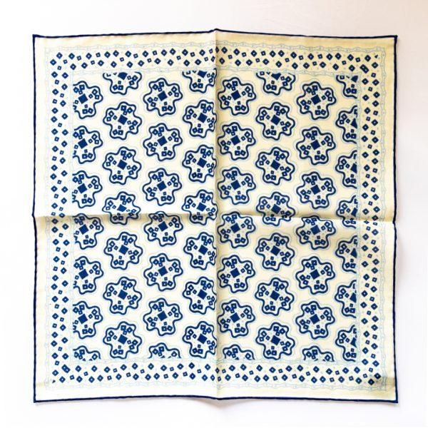 Cross Silk Pocket Square - WhiteNavy