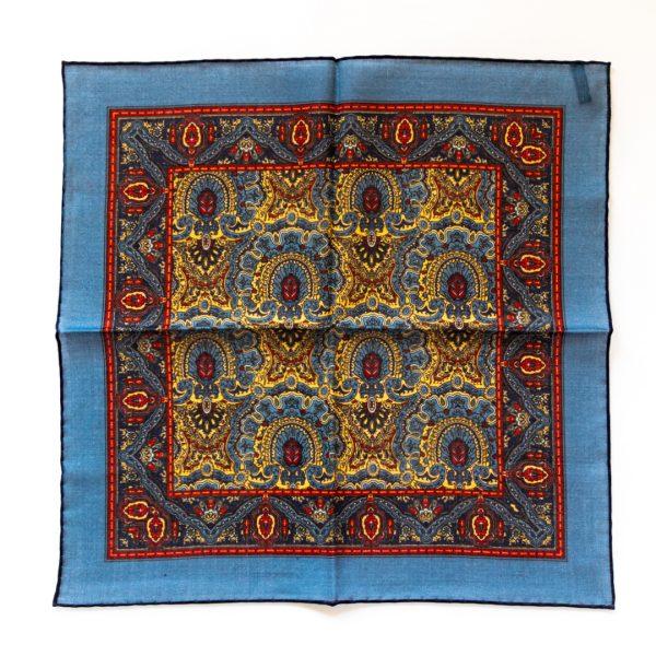 Fan Silk Pocket Square - BlueGold