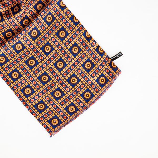 Floral Tile Silk Scarf - Blue Orange