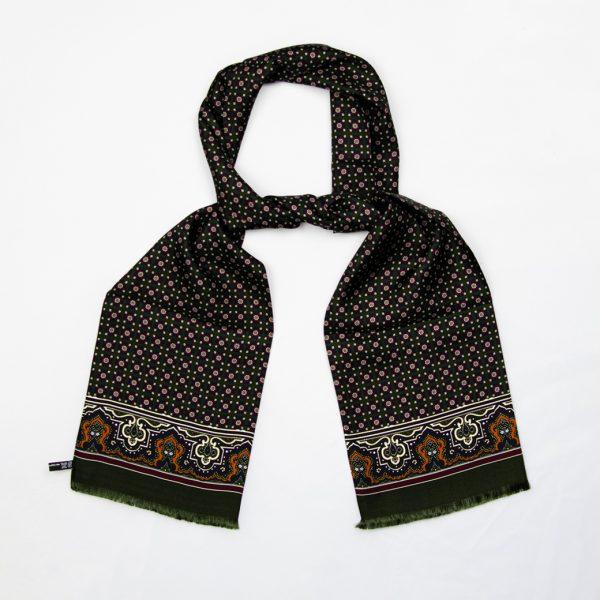 Floral medallion silk scarf - Green