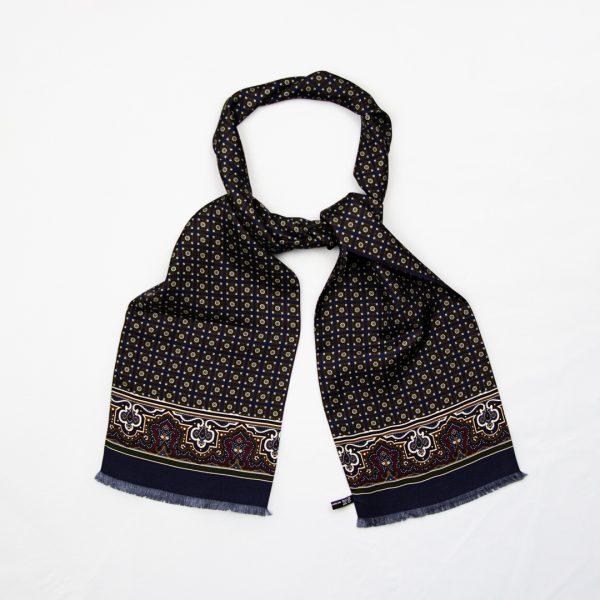 Floral medallion silk scarf - Navy
