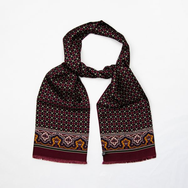 Floral medallion silk scarf - Wine