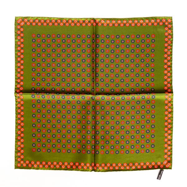 Flower Silk Pocket Square - green