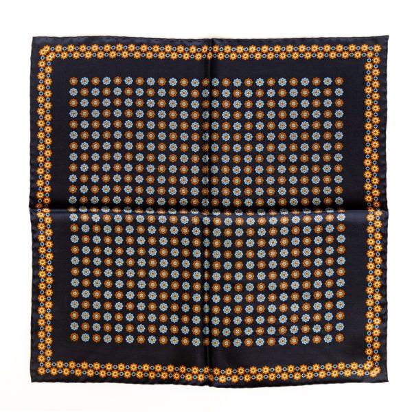 Flower Silk Pocket Square - navy