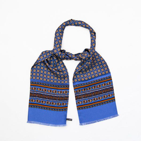 Flower neat silk scarf - Sky