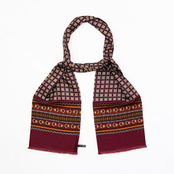 Flower neat silk scarf - Wine