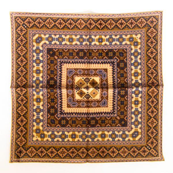 Geo Silk Pocket Square - BrownPink