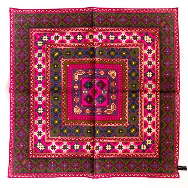 Geo Silk Pocket Square - PinkGreen