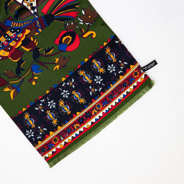 Green Rooster Print Silk Scarf