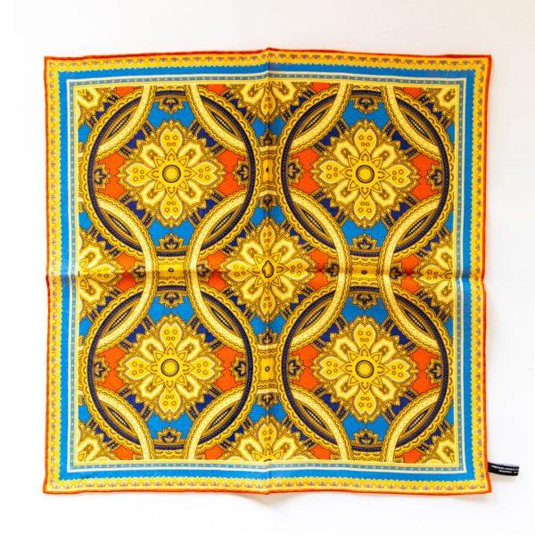 Medallion Silk Pocket Square - GoldRed
