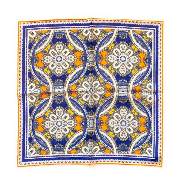 Medallion Silk Pocket Square - OrangeYellow