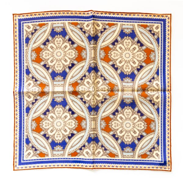 Medallion Silk Pocket Square - RustBlue