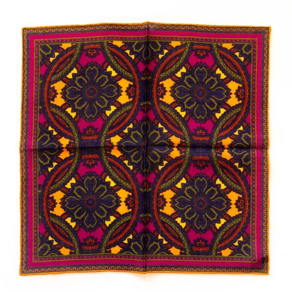 Medallion Silk Pocket Square - WineGold