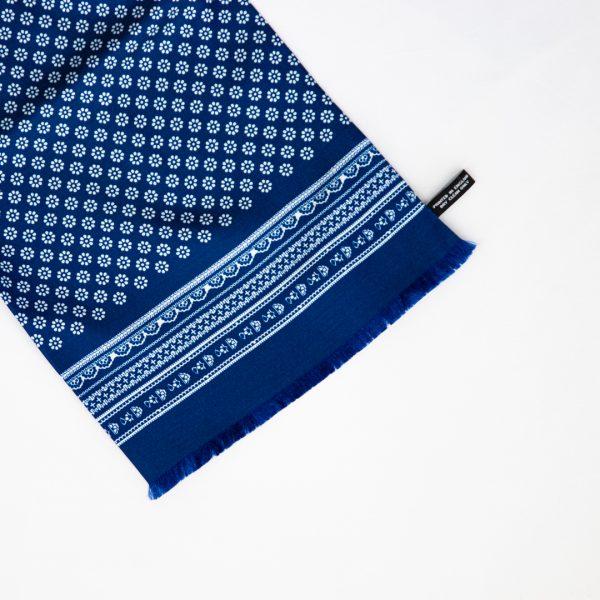 Mono Daisy Silk Scarf - Blue