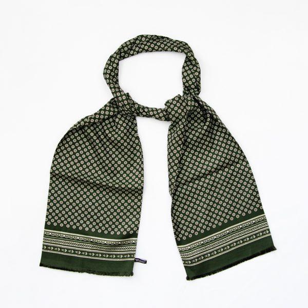 Mono Daisy Silk Scarf Green