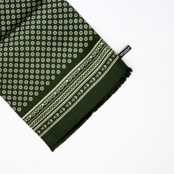 Mono Daisy Silk Scarf- Green
