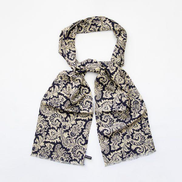 Mono paisley silk scarf - Navy