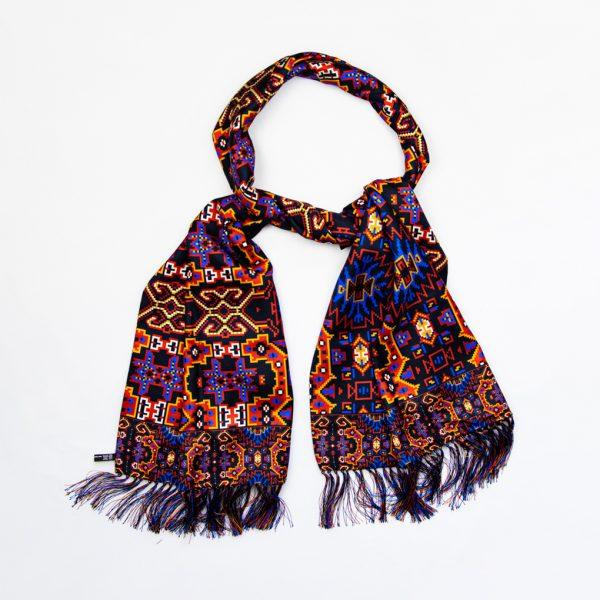 Navy Orange Aztec Silk Scarf