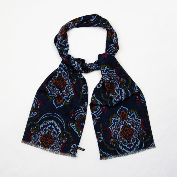 Oriental Paisley Silk Scarf - Navy