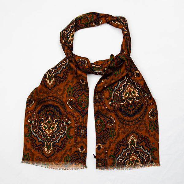 Oriental Paisley Silk Scarf - Rust
