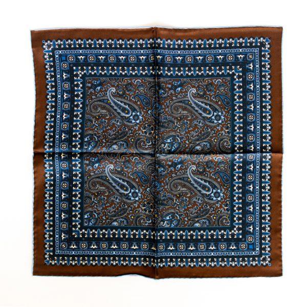 Paisley Silk Pocket Square - BrownBlue