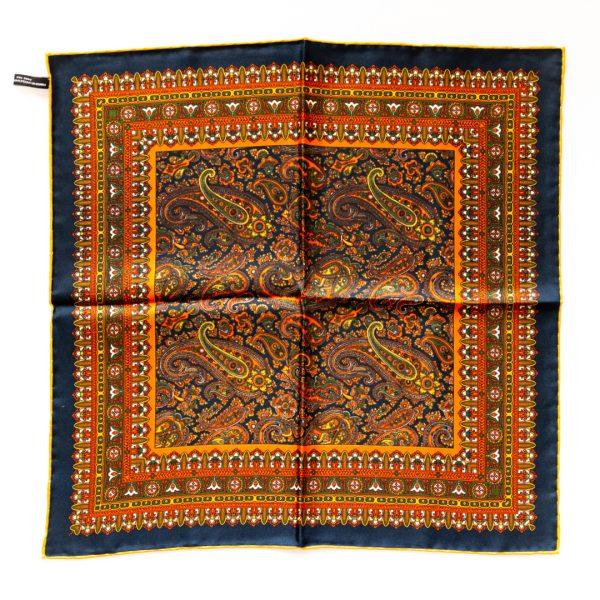 Paisley Silk Pocket Square - NavyOrange