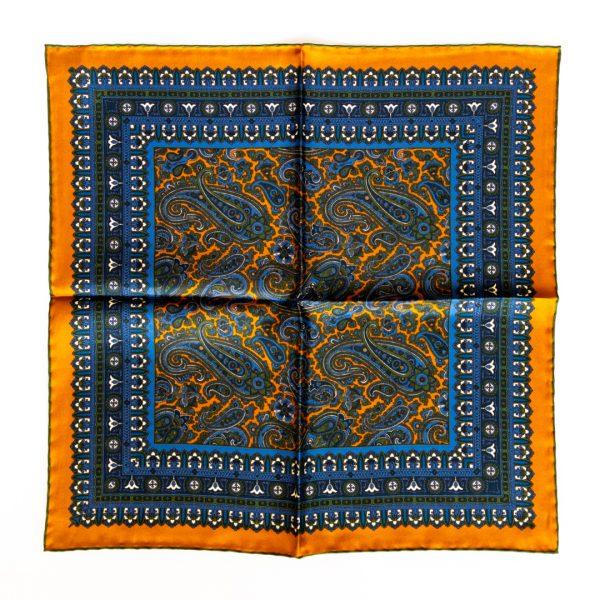 Paisley Silk Pocket Square - OrangeGreen