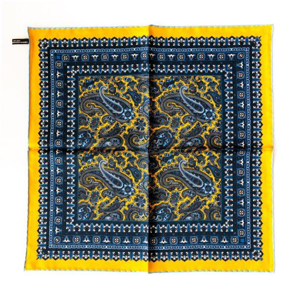 Paisley Silk Pocket Square - YellowBlue
