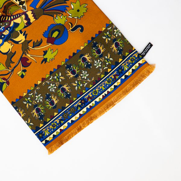 Rust Rooster Print Silk Scarf